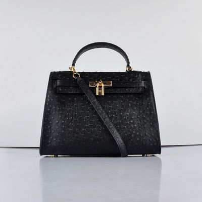 Hermes Kelly 32 CM Womens Ostrich Textured-leather Black Top Handle Golden Hardware Totes Replica