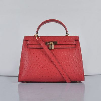Women's Latest Hermes Kelly Golden Hardware Trapezoid Wide Base Grained Leather Flap Totes Red