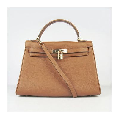 Light Coffee Womens Hermes Kelly Togo Leather Gold Plated Key & Padlock Flap Bag Removable Strap