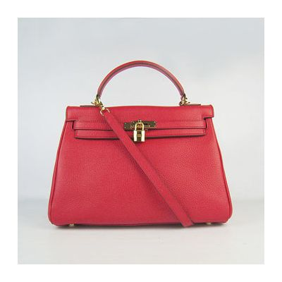 2017 New A-shaped Hermes Kelly Totes Bag Gold Plated Lock Red Togo Leather Paris