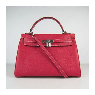 Hermes Kelly 32CM High End Top Handle Togo Leather Red Shoulder Bag Silver Buckle Replica