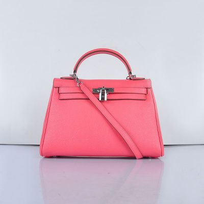 32CM Fashion Top Handle Hermes Kelly Silver Hardware Togo Leather Pink Handbag Strap With Buckle