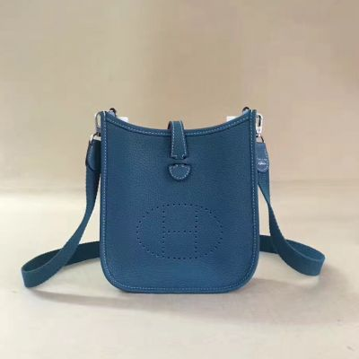 Cheapest Hermes Evelyne Steelblue Meniscate Opening Ladies Leather TPM Saddle Bag Logo Perforated Plaque Replica