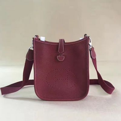 Hermes Hot Selling Female Evelyne Slim Flap Shoulder Bag With Outside Pocket Curved Base Burgundy