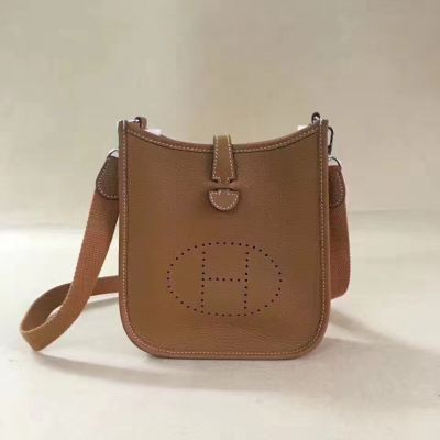 Womens Camel Leather Hermes Evelyne Small Flip-over Flap TPM Shoulder Bag H Logo Perforated Plaque