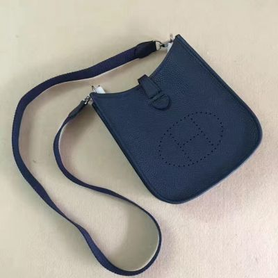 Mini Hermes Curved Buttom Evelyne H056275CK2Z Dark Blue TPM Handbag With Outside Pocket