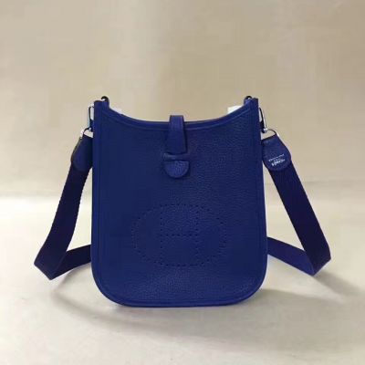 Hermes Mini Ladies Meniscate Top Electric Blue Leather Evelyne Clone Shoulder Bag H Pattern Perforated Plaque
