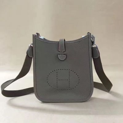 Hermes Evelyne Narrow Flip-over Flap Silver Hardware Grey Leather Mini TPM Saddle Bag For Womens