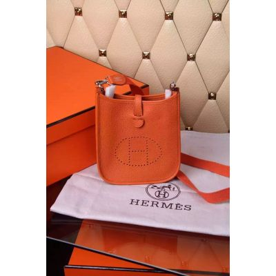 Popular Orange Leather Hermes Evelyne Ladies Mini Shoulder Bag H Pattern Perforated Plaque Narrow Flap Saddle