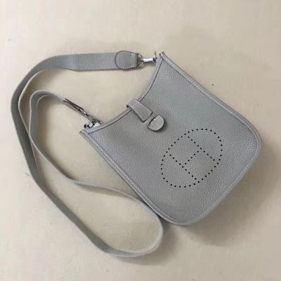 Hermes Mini Evelyne Meniscate Top Female TPM Bag With Outside Pocket Light Grey Low Price