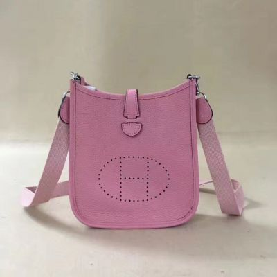Celebrity Style Pink Leather Ladies Hermes Evelyne TPM Shoulder Bag Slim Center Flap Saddle H056278CK1Q