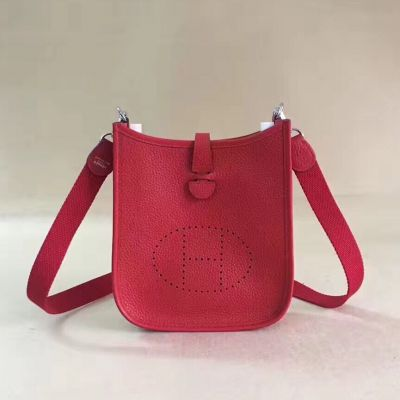 Hermes Evelyne H Pattern Perforated Plaque Red Leather TPM Fake Shoulder Bag Adjustable Nylon Strap