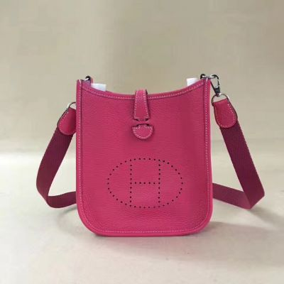 Hermes Evelyne Rose Leather Logo Perforated Plaque Mini Shoulder Bag Slim Center Flap Saddle Online