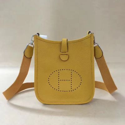 Good Price Yellow Leather Hermes Evelyne H Pattern Perforated Plaque Ladies Mini TPM Shoulder Bag