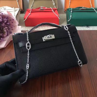 2017 Hot Selling Black 22 CM Hermes Kelly Epson Leather Totes Silver Chain Strip