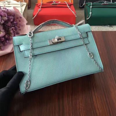 Hermes Kelly Flat Handle Flap Tote Bag Leather Strap With Silver Turn-lock Light Blue Replica