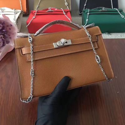 High Quality Hermes Kelly 22 CM Camel Epsom Leather Flap Handbag Silver Chain Low Price