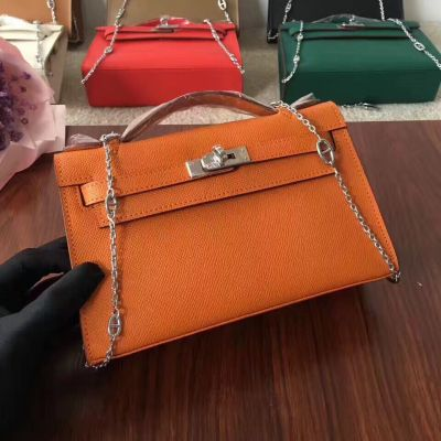 Silver Chain Hermes Kelly Top Handle Womens Flap Tote Bag Leather Strap With Lock Mini
