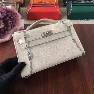 Fake White Epsom Leather Women's Flap Totes Bag Flat Top Handle Silver Chain Uk