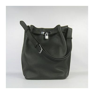 Replica Hermes So Kelly Women's Black Soft Calf Leather 28CM Shoulder Bag Silver Buckle & Lock