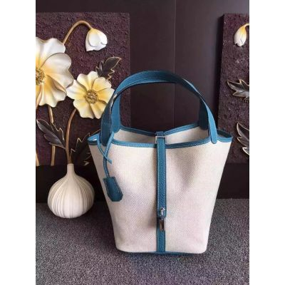 Women's Hermes Picotin High End Canvas White-Blue Shopping Tote Bag Side Belt With Silver Lock
