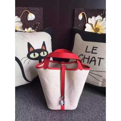 Hot Selling White Canvas Ladies Hermes Picotin Tote Bag Red Leather Belt With Silver Padlock