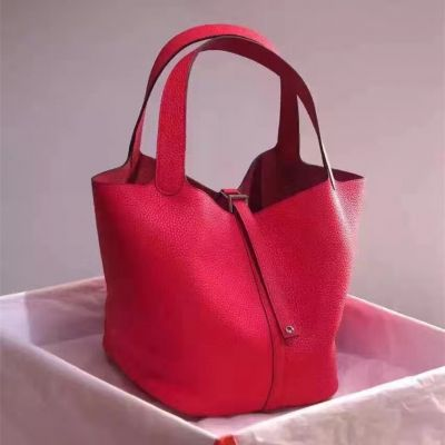 Hermes Picotin Red Textured-leather Flat Handle Bucket Bag Side Belt With Silver Padlock For Girls