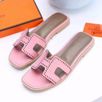 Hermes Womens Calfskin Leather Perforated Logo Style Flat Oran Sandals Summer Waterproof Slides Shoes Multicolor  H171062Z 90350