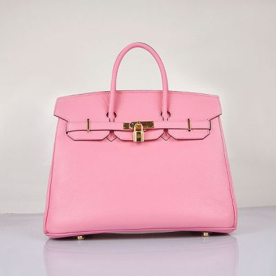 Hermes Birkin Ladies Stylish Lace Style Flap Bag Golden Lock Pink Togo Leather For Sale