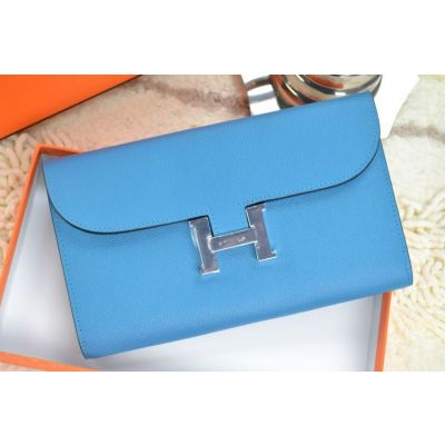Women's Long Hermes Chic Baby Blue Leather Flap Wallet Silver H Buckle Clutch Bag