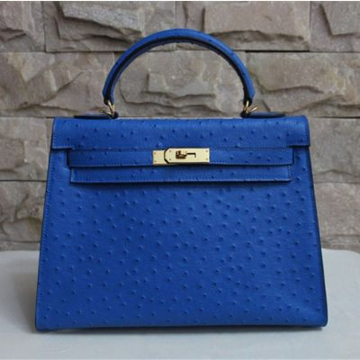 Women's Sapphire Blue Ostrich Grained Leather Hermes Kelly Top Handle Tote Bag Gold Plated Hardware