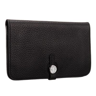 AAA Quality Hermes Dogon H043070CK2Z Black Grained Leather Bi-fold Long Wallet Small Silver Round Buckle