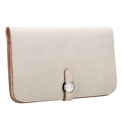 Most Fashion Hermes Dogon Ladies Grained Leather Wallet Silver Buckle Beige Long In Paris