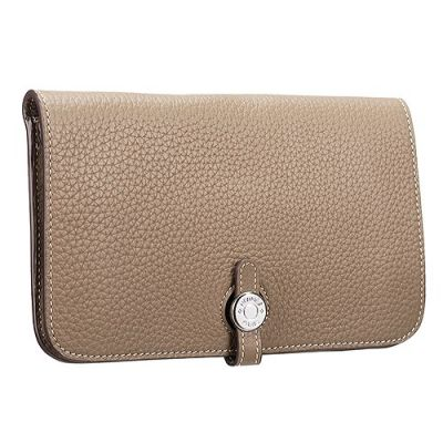 Hermes Dogon Taupe Grainy Leather Bi-fold Wallet Silver Round Buckle For Womens Low Price