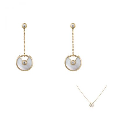Amulette De Cartier Elegant Drop Earrings Necklace Set White Mother-of-Pearl With Crystal Price Australia Girls B8301229/B3047100