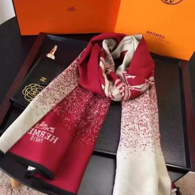 Hermes Cashmere Red Scarves Duplex Printing French Fringe Shawl Warm Winter Women Birthday Gift UK