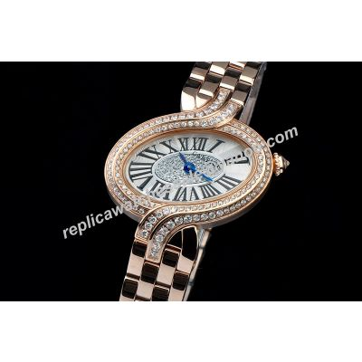 Cartier Diamond W8100003 Delices 18k Rose Gold Case Ladies Watch Fake KDY060