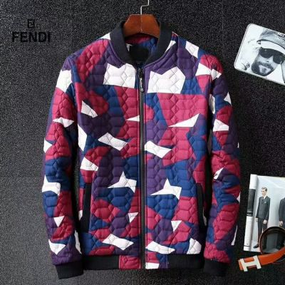 Fendi Fashion Camouflage Motif Male Silver Zipper Winter Warm Jacket Cannage Quilted Outerwear Red/Green Replica
