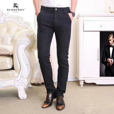 High Quality Burberry Office Style Male Fashion Check Black Cotton Pants & Trousers Sale UK