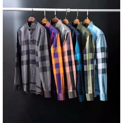 Leisure Style Burberry Bi-color Check Mens Cotton Regular-fit Shirts With Curved Hem For Multicolor