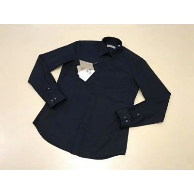 Burberry Office Style Guy Black Blended Standard-Fit Dress Shirts With Point Collar & Covered Placket