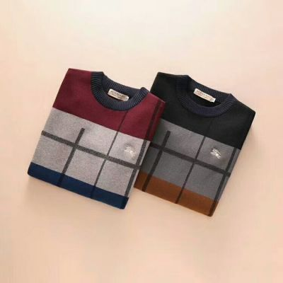 Cheapest Burberry Winter Trendy Crewneck Tri-color Colorblock Nylon & Wool Sweaters With Logo Print For Mens