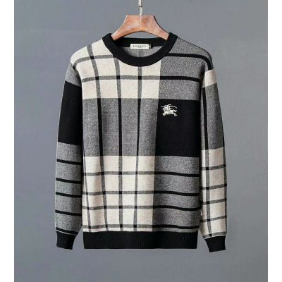 AAA Quality Burberry Mens Crewneck Logo Detail Tri-color Wool Cotton Blend Check Sweater With Casual Outfits