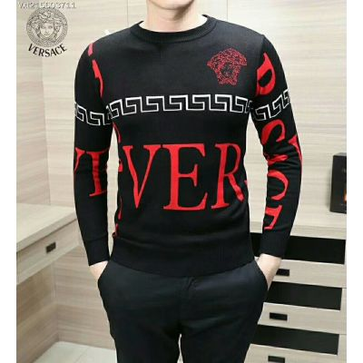 High Quality Versace Embroided Medusa Greca Border Detail Oversized Red Letters Mens Black Wool Sweater