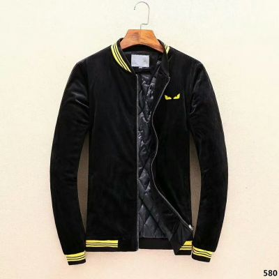 Fendi Bugs Eyes Jacquard Mens Black High End Pleuche Zipper Jacket Fashion Yellow Striped Motif Warm Coats