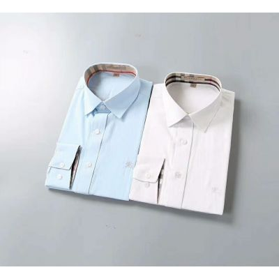 Burberry Check & Equestrian Knight Details Mens Long-Sleeve Cotton Shirts White/Light Blue For Formal Outfits