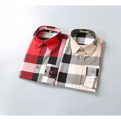 Burberry Spring Fashion British Style Button-down Collar Logo Embroidery Mens Cotton Check Shirt Red/Nude