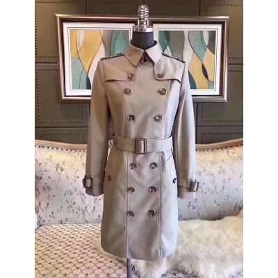 Burberry Logo Embroidery Belt Female Extra-long Double Breasted Slim-fit Khaki Cotton Trench Coat Online Usa