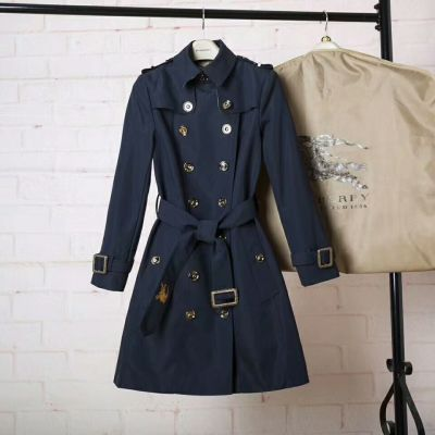 Vintage Burberry Yellow Gold D-ring Belt Ladies Blue Cotton Long Double Breasted Trench Coats UK Replica