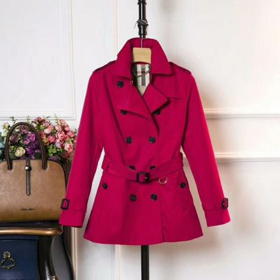 Burberry Womens Detachable Belt Dual-entry Piccadilly pockets Ladies Slim-fit Short Red Cotton Trench Coat